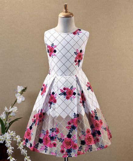 Aarika Sleeveless Rose Print Fit & Flare Dress - Pink