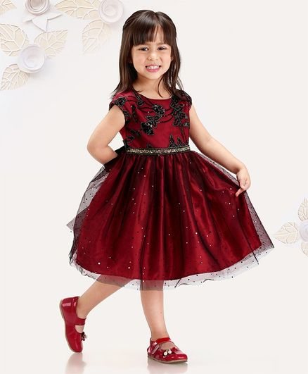 6e339b2fdbb Mark   Mia Sleeveless Frock with Sequin Embroidered - Dark Red 24% off