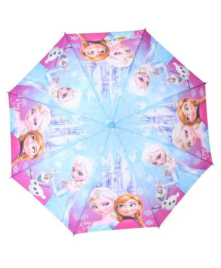 Johns Umbrellas With Whistle Frozen Princess Print - Blue Pink