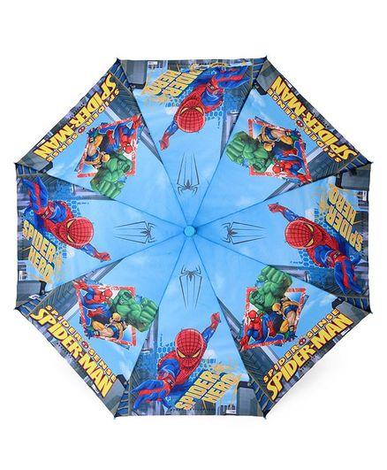 John's Umbrellas With Whistle Spiderman Print - Blue