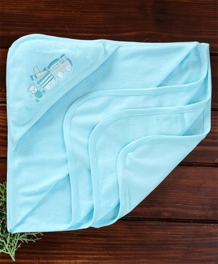 Zero  Hooded Towel Train Engine Embroidery - Sky Blue