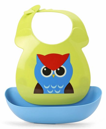 Babyhug Plastic Bib with Detachable Crumb Catcher Owl - Green