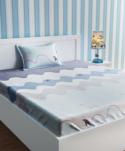 Urban Dream Cotton Polar Bear Print Bed Sheet And Pillow Cover - Turquoise and Grey
