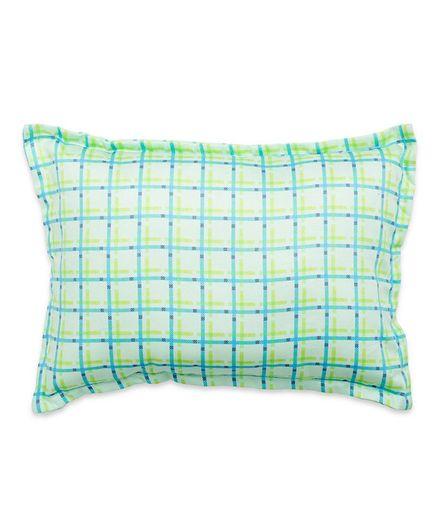 Fancy Fluff Checks Pillow - Green