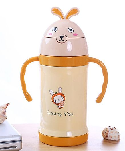 Kidofash Loving You Print Sipper Stainless Steel Water Bottle - Beige
