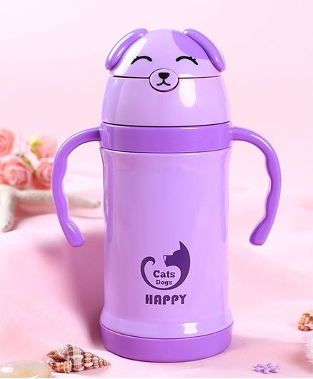 Kidofash Teddy Stainless Steel Sipper Water Bottle - Purple