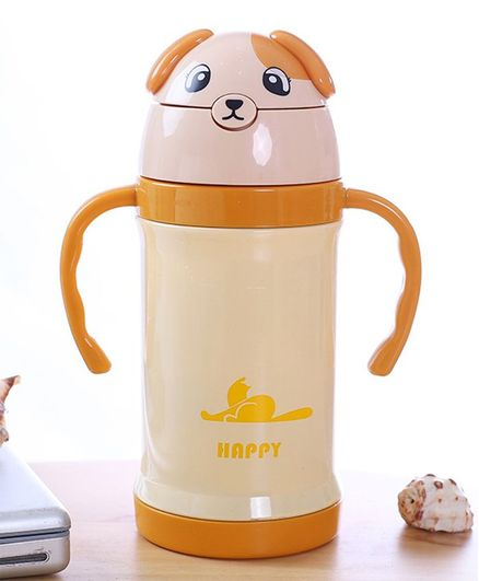 Kidofash Teddy Stainless Steel Sipper Water Bottle - Beige