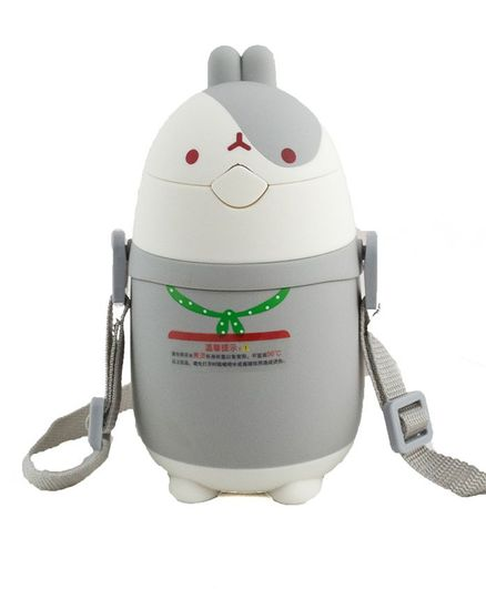 Kidofash Bunny Face Stainless Steel Sipper Water Bottle - Grey