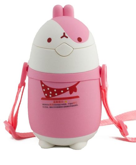 Kidofash Bunny Face Stainless Steel Sipper Water Bottle - Pink