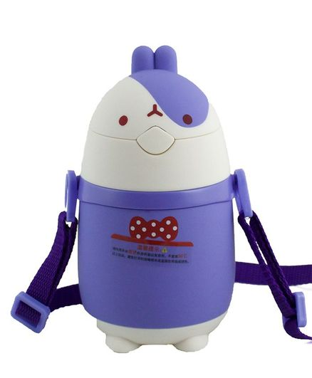 Kidofash Bunny Face Stainless Steel Sipper Water Bottle - Purple
