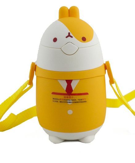 Kidofash Bunny Face Stainless Steel Sipper Water Bottle - Yellow