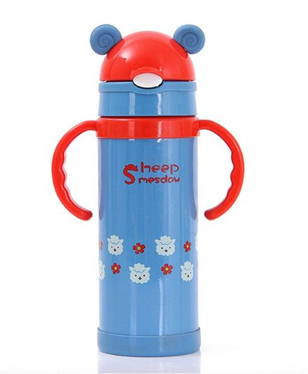 Kidofash Sheep Printed Stainless Steel Sipper Water Bottle - Blue