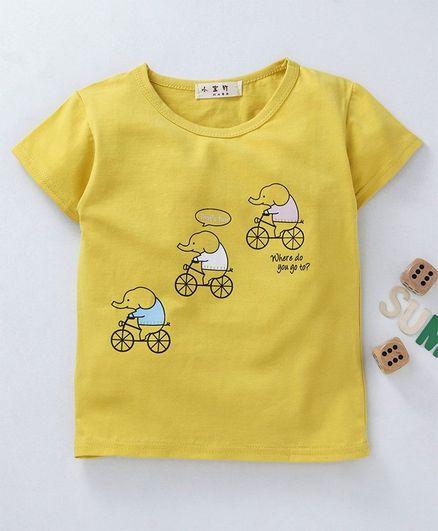 Kookie Kids Half Sleeves T-Shirt Elephant Print - Yellow