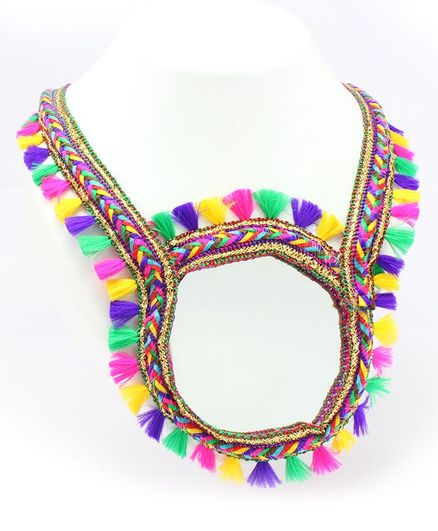 Pihoo Mirror Work Necklace With Tassel Detailing - Multicolor