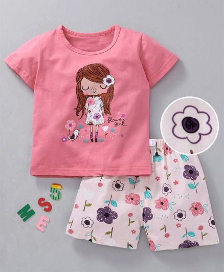 Kookie Kids Half Sleeves Night Suit Girl Print - Pink