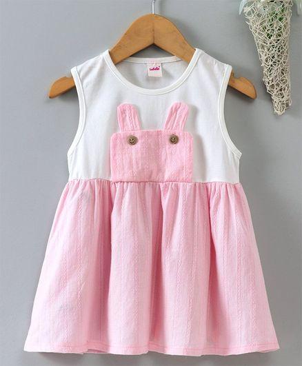Lekeer Kids Sleeveless Frock - White & Pink