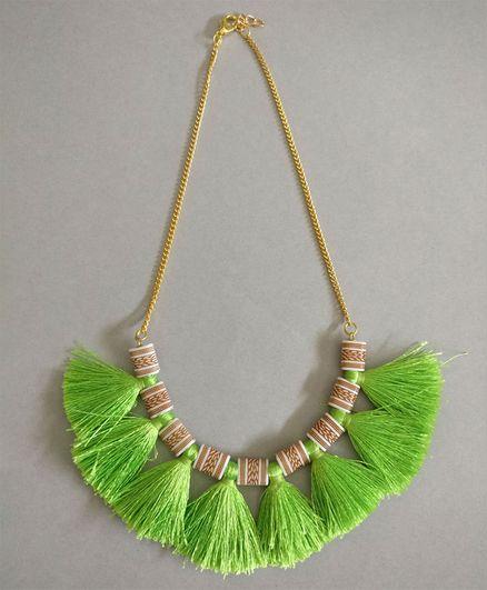 Tiny Closet Tassel Chain Necklace - Green