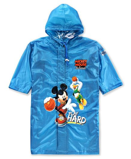 Babyhug Full Sleeves Hooded Raincoat Mickey Mouse Print - Blue