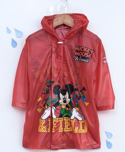 Babyhug Full Sleeves Hooded Raincoat Mickey Mouse Print - Red