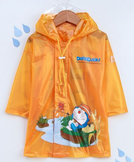 Babyhug Full Sleeves Hooded Raincoat Doraemon Print - Dark Yellow