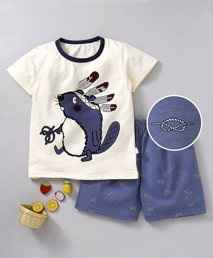 Kookie Kids Half Sleeves Printed Night Suit - Cream Blue