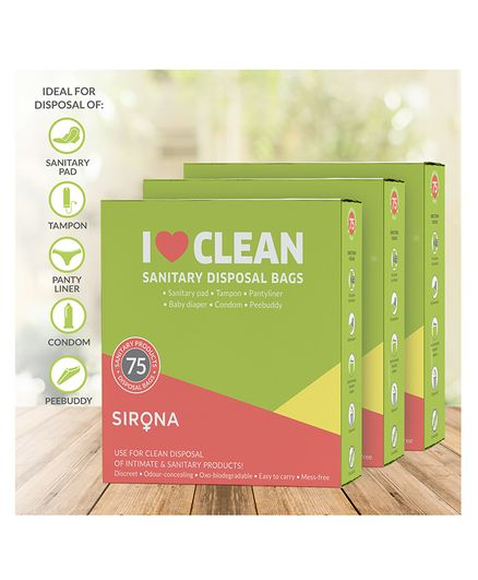 Sirona Sanitary and Diaper Disposal Bags - 225 Bags (3 Pack - 75 Bags Each)