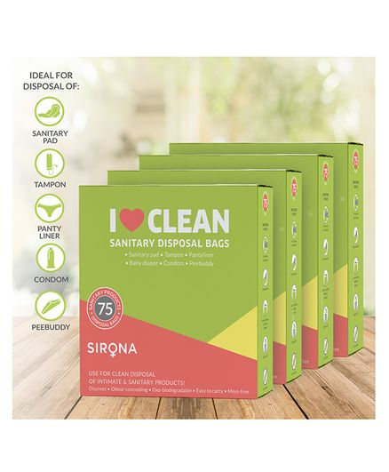 Sirona Sanitary and Diaper Disposal Bags - 300 Bags (4 Pack - 75 Bags Each)