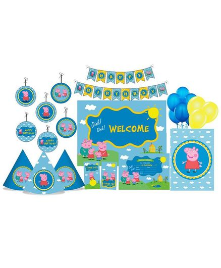 Prettyurparty Peppa Pig Themed Party Decorations Set - Blue