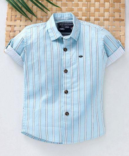 Jash Kids Half Sleeves Striped Shirt - Sky Blue