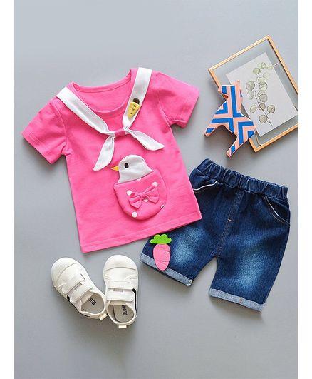 Awabox Bird & Carrot Applique Half Sleeves Top & Shorts Set - Pink