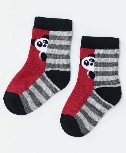 Mustang Ankle Length Stripe Socks Panda Design - Red Grey