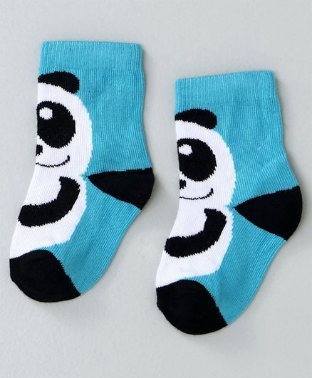 Mustang Ankle Length Socks Panda Design - Blue Black