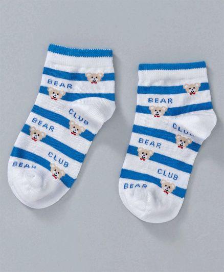 Mustang Ankle Length Stripe Socks Bear Design - Blue White