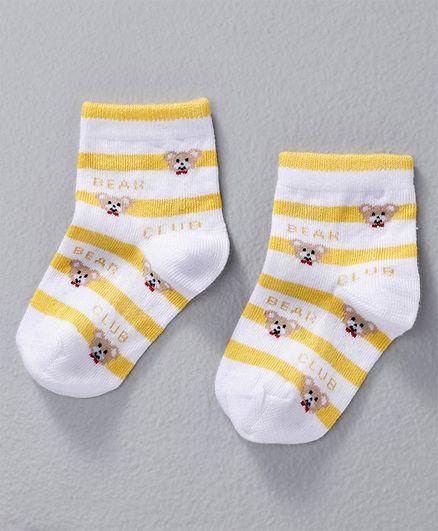 Mustang Ankle Length Stripe Socks Bear Design - Yellow White