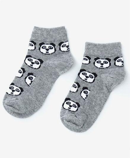 Mustang Ankle Length Socks Panda Design - Grey