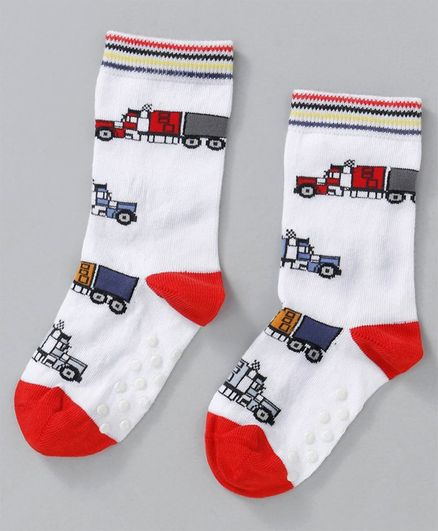 Mustang Quarter Length Anti Skid Socks Vehicle Design - White Red