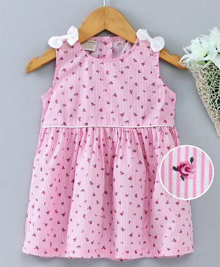 Kookie Kids Sleeveless Striped Frock Floral Print - Pink