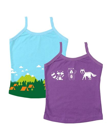 Plan B Set Of 2 Sleeveless Animal Print Slips - Light Blue & Purple