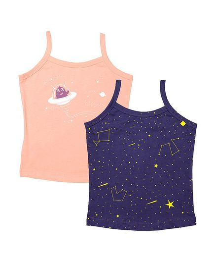 Plan B Sleeveless Set Of 2 Constellation Print Slips - Peach & Navy Blue