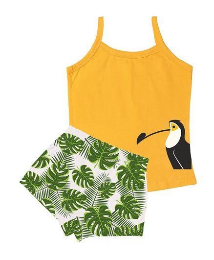 Plan B Sleeveless Toucan Print Slip With Printed Briefs Set - Yellow & White