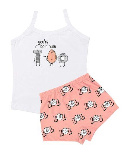 Plan B Nut Bolt Print Sleeveless Camisole & Shorts Set - White & Peach
