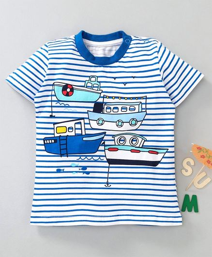 Kookie Kids Striped Half Sleeves T-shirt - Blue