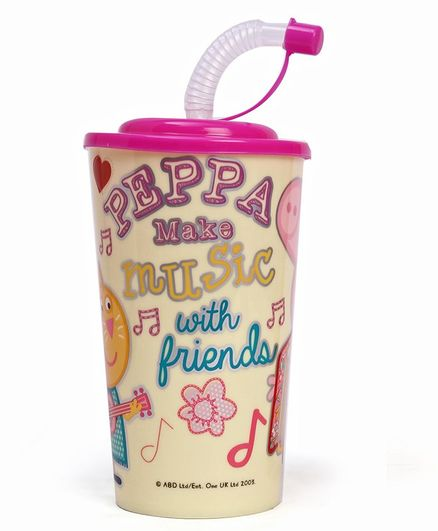 Peppa Pig & Friends Printed Sipper With Straw Pink - 450 ml