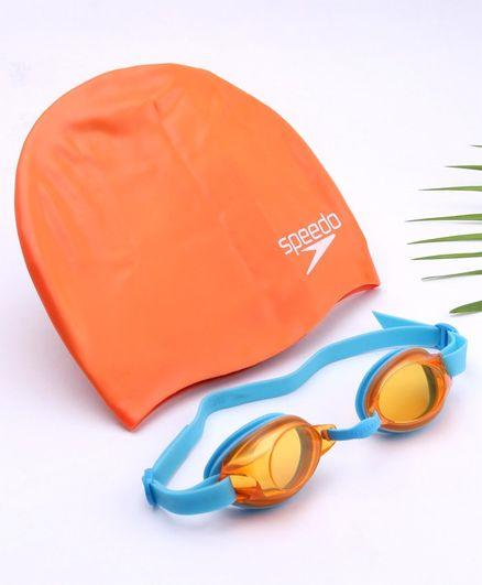 Speedo Swimming Goggles & Cap Combo - Blue & Orange