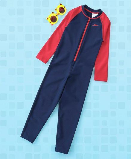 Speedo Full Sleeves Legged Swim Suit - Red Blue