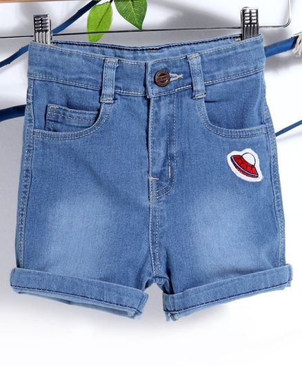 Babyhug Denim Shorts With Spaceship Embroidery - Light Blue