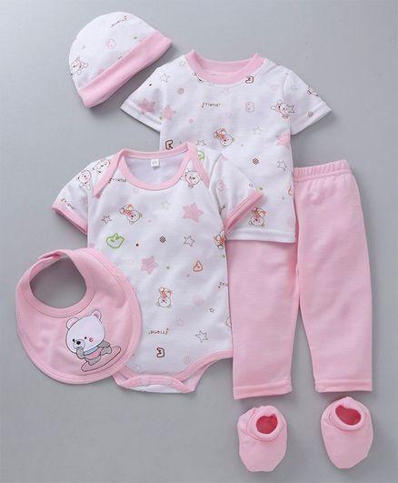 MFM Half Sleeves Printed 6 Piece Clothing Set Multi Print - White Pink