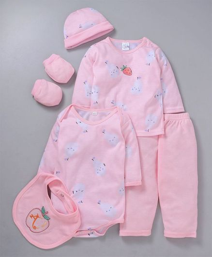 MFM Full Sleeves 6 Piece Clothing Set Fruit Print - Pink
