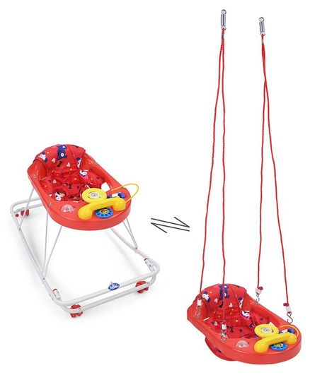 New Natraj 3 In 1 Walker Teddy Animal Print - Red