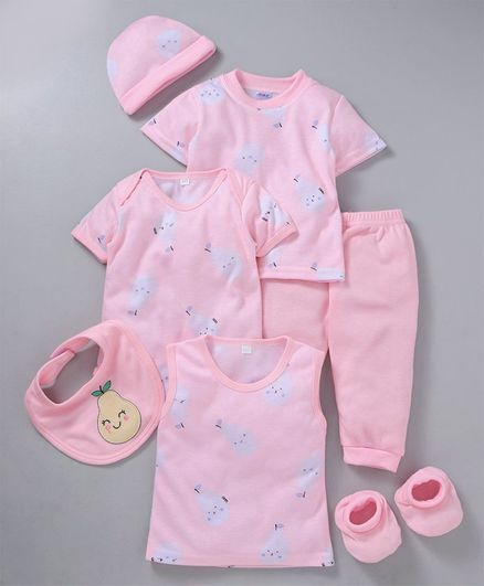 MFM 7 Piece Clothing Set Fruit Print -  Pink